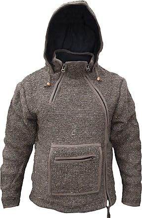 Gheri Plain Natural Woolen Winter Kangaroo Pouch Zip Handmade Hoodie Jacket Brown Medium