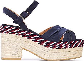 Castaner Castañer Woman Xiqui Suede And Satin Espadrille Platform Sandals Indigo Size 36