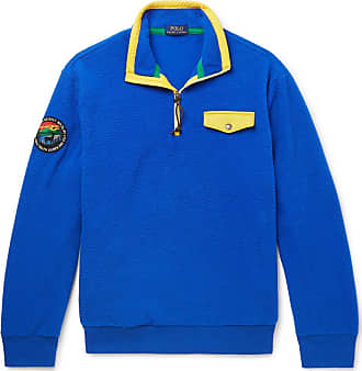Polo Ralph Lauren Contrast-trimmed Fleece Half-zip Sweatshirt - Royal blue