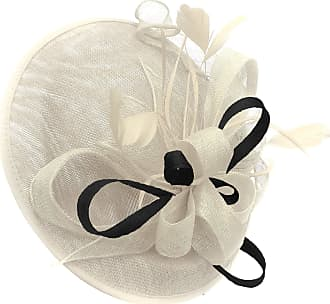 Caprilite Cream Ivory and Black Sinamay Big Disc Saucer Fascinator Hat for Women Weddings Headband