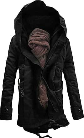 H&E Men Quilted Drawstring Pocket Padded Hoodid Jacket Parka Coat Black L