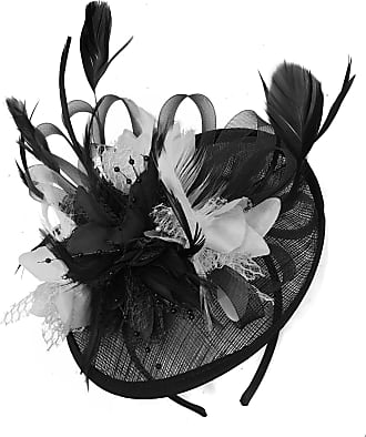 Caprilite Black and White Sinamay Disc Saucer Fascinator Hat for Women Weddings Bird Cage Veil Headband