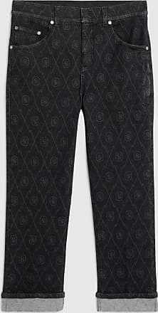 Neil Barrett Monogram Denim Tube Leg Jean Long Length