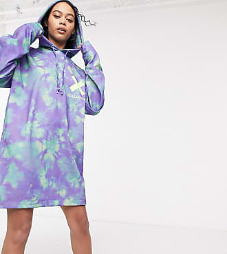 Collusion all over print double layer hoodie dress-Multi