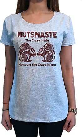 Irony Womens Top Nutsmaste Squirrel Crazy in me honours The Crazy in You Print TS1109 (Grey, Small)