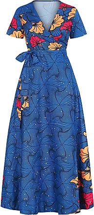 EmilyLe Womens African Boho V Neck Dress Summer Casual Short Sleeve Split Floral Floor Length High Waist Maxi Dresses (XL, Blue)