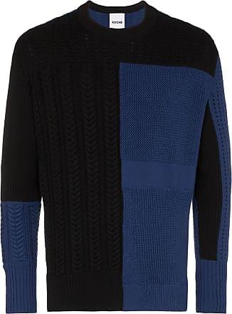 Koché Suéter color block com patchwork - Preto