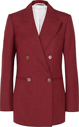 Casasola Double-breasted Wool, Silk And Linen-blend Blazer - Crimson