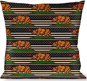 Buckle Down Pillow Decorative Throw Cali Bear Star Us Flag Stretch Black White Red