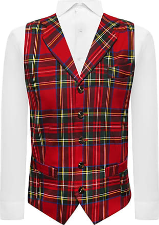 King & Priory Red Tartan Check Waistcoat with Lapel (Small)