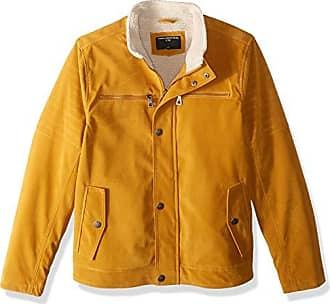 Urban Republic Mens Boys Trendy Pu Suede Jacket, Dijon Mustard, L