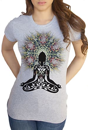 Irony Womens Grey T-Shirt Mind Yoga Top Buddha Chakra Meditation Zen - Peace TSA19 (XLarge)
