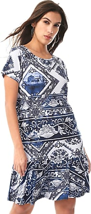 Lança Perfume Vestido Lança Perfume Curto Estampado Branco/Azul