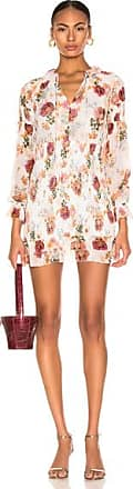 Nicholas Floral Smocked Mini Dress in Floral,White