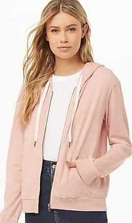 Forever 21 Forever 21 Fleece Oil Wash Zip-Up Hoodie Light Pink