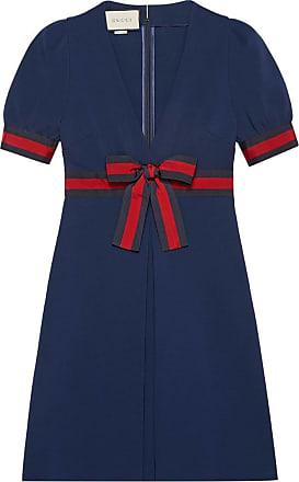 22539840e Gucci Jersey V-neck dress with Web - Blue