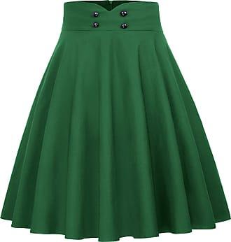 Belle Poque Women Tea Party Vintage 1950s Wiggle Fancy Skirts Solid Color Dark Green(560-4) Medium