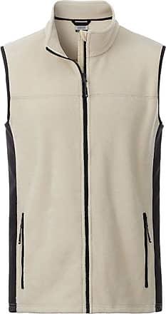 James & Nicholson JN856 Mens Workwear Fleece Vest/Gilet Stone/Black 4XL