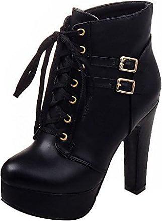 UH Damen Schnür Ankle Boots Blockabsatz Plateau Stiefeletten mit Warm  Gefüttert und Schnalle 12cm Absatz Schuhe f9e73b7689