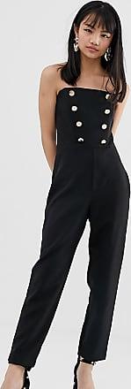 Miss Selfridge Miss Selfridge petite black button bandeau jumpsuit