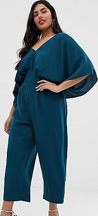 Asos Curve ASOS DESIGN Curve - Tuta jumpsuit con maniche a kimono e pinces-Verde