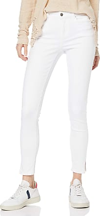 Pieces Womens PCDELLY MW Crop Slit B300 BWH/NOOS Skinny Jeans, White (Bright White Bright White), 12 / M