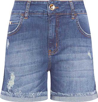 Colcci Short Jeans Carol Com Dobra - Azul