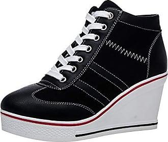Damen Keil Freizeitschuhe Sneaker Low-Cut-Schuhe Sport-SchnürschuheTurnschuhe