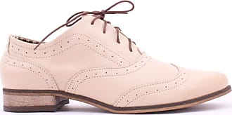 Zapato Womens Leather Oxford Shoes Model 246 Beige