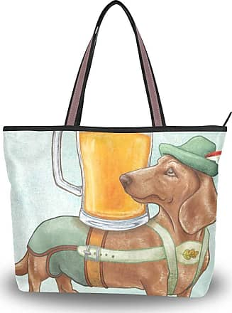 Lorona Women Beer Dogs Brown Coffee Canvas Shoulder Hand Bag Large Capacity Tote Bag