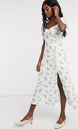 & Other Stories floral printed smocked sweetheart midi dress in white