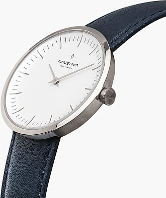 Nordgreen Infinity - Navy Blue Leather - 32mm / Rose Gold