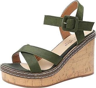 QUINTRA Summer Women Fish Mouth Platform High Heels Wedge Sandals Buckle Slope Sandals (UK 4.5, Green)