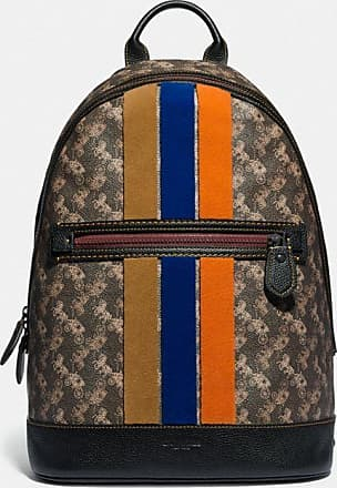 Coach Barrow Backpack With Horse And Carriage Print And Varsity Stripe in Brown/Multi