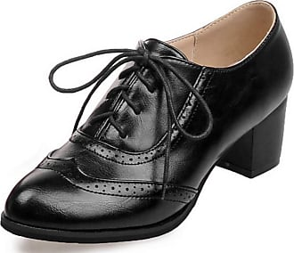 Patent Leather Perforated Stacked Heel Pumps Dress Shoes Vimisaoi Womens Oxfords Brogues Lace-up High Heel Platform Mesh Saddle Shoes