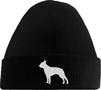 HippoWarehouse Boston Terrier Logo Embroidered Beanie Hat Black