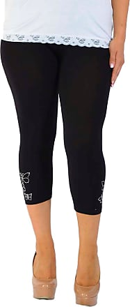 Nouvelle Collection New Womens Plus Size Cropped Leggings Ladies Butterfly Stud Rhinestone Trousers Bottoms Elasticated 3/4 Length Black 24-26