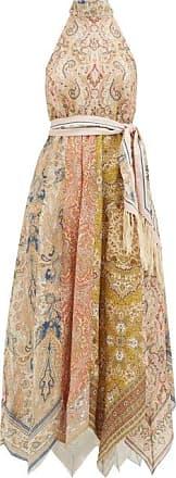 Zimmermann Freja Halterneck Paisley-print Linen Dress - Womens - Brown Print