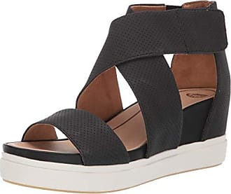 Dr. Scholls Womens Sheena Wedge Sandal, Black Smooth Perforated, 6 M US