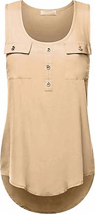 Kobay Womens Casual T-Shirt Ladies O-Neck Sexy Sleeveless Vest Loose Tank Tops Plus Size Summer Khaki