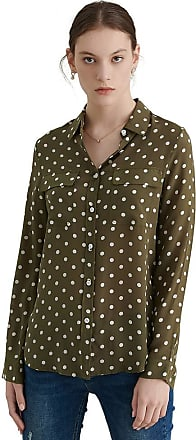 LilySilk Womens Vintage Olive Green Polka Dots Silk Blouse New Look Ladies Softstyle 16 Momme Pure Silk Shirt Size 12/M