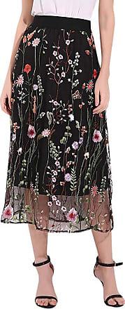 JERFER iHAZA Boho Long Skirts Women Mesh Embroidered Casual Waterweed Skirt Black