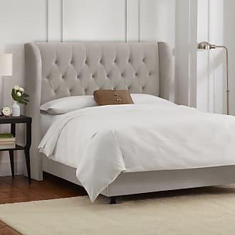 Skyline Furniture Tufted Wingback Bed in Velvet Light Grey (King)