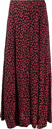 Ganni floral print buttoned mid skirt - Black