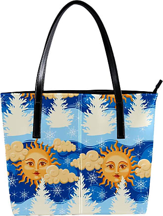 Nananma Womens Bag Shoulder Tote handbag with Tree Sun With Face Pattern Zipper Purse PU Leather Top-handle Zip Bags