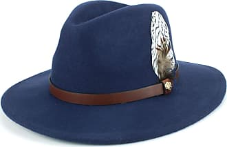 Hawkins Wool Felt Fedora with Feather - Navy