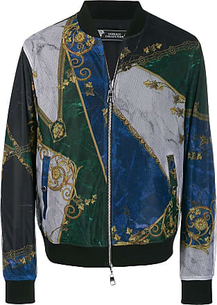 Versace Collection printed mesh bomber jacket - Black
