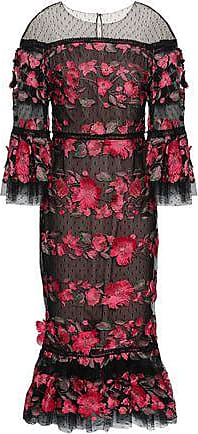 Marchesa Marchesa Notte Woman Floral-appliquéd Embroidered Point Desprit Midi Dress Fuchsia Size 2