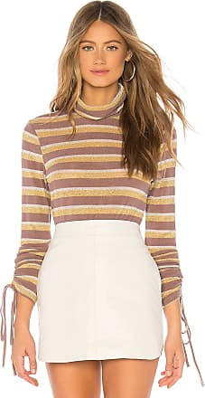 J.O.A. Ruched Sleeve Metallic Stripe Top in Taupe