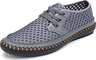 Jamron Mens Breathable Mesh Trainers Espadrilles Lace-Up Summer Sports Shoes Grey SN16605 UK10.5